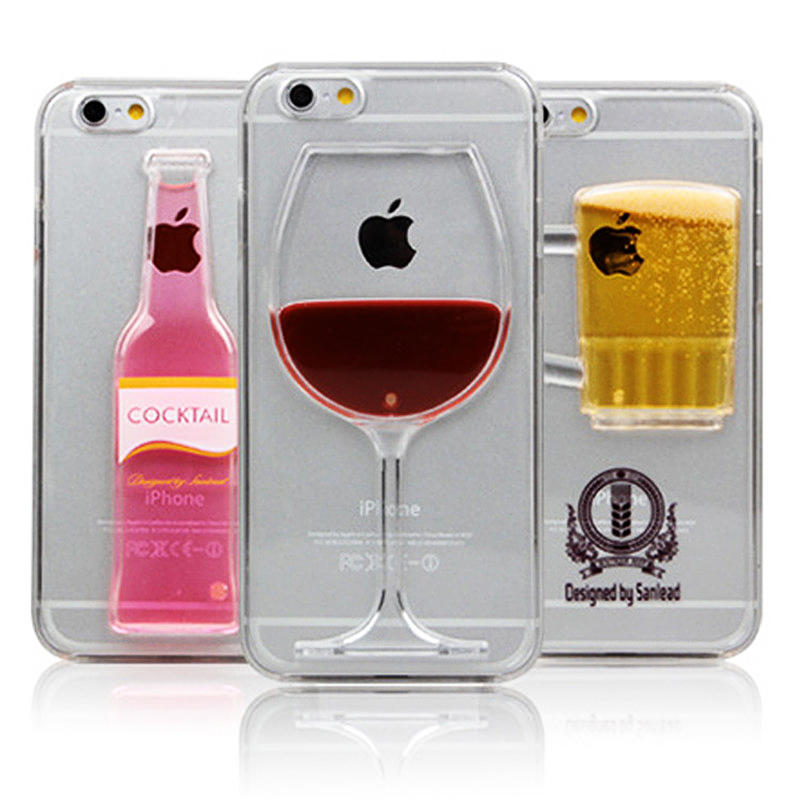 Hot sale Red Wine Cup Liquid Transparent Case Cover For iPhone 6 6S Plus Beer Cup Cocktail for iPhone 6s 6 plus Back Covers(China (Mainland))