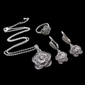 HENSEN Fashion Antique Jewellery Set Vintage Silver Plated Retro Black Crystal Flower Jewelry Sets For Women