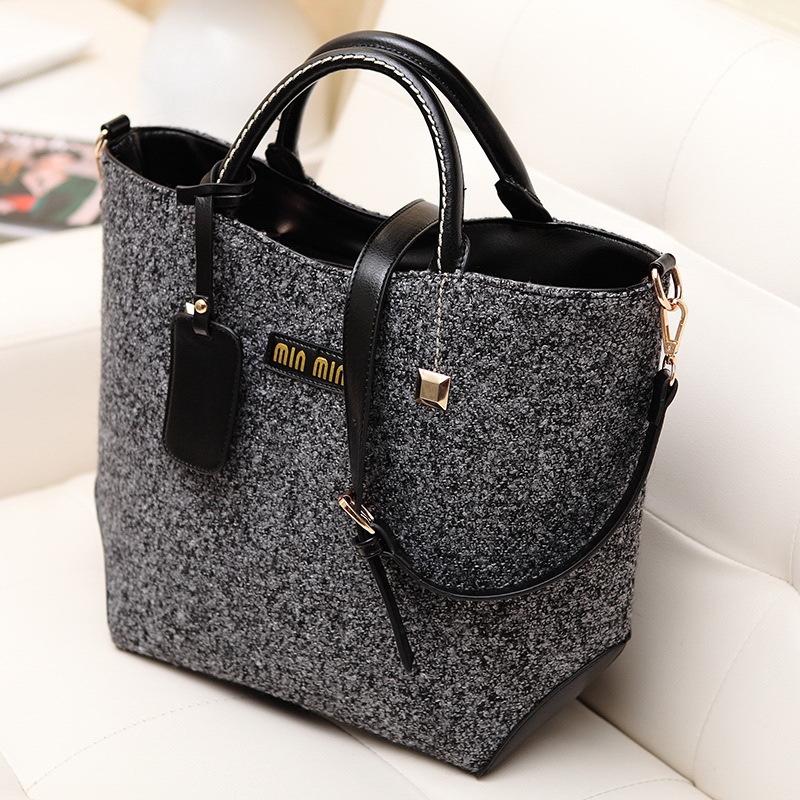 New arrival Fashion classical brand design woolen and PU women bag, leather handbag/ shoulder bag leather bag WLHB824(China (Mainland))