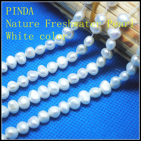 Baroque Cultured Freshwater pearl natural White golden purple color 5-6mm 2 strand / lot 14.5 inch hole 0.8mm Grade AA(China (Mainland))