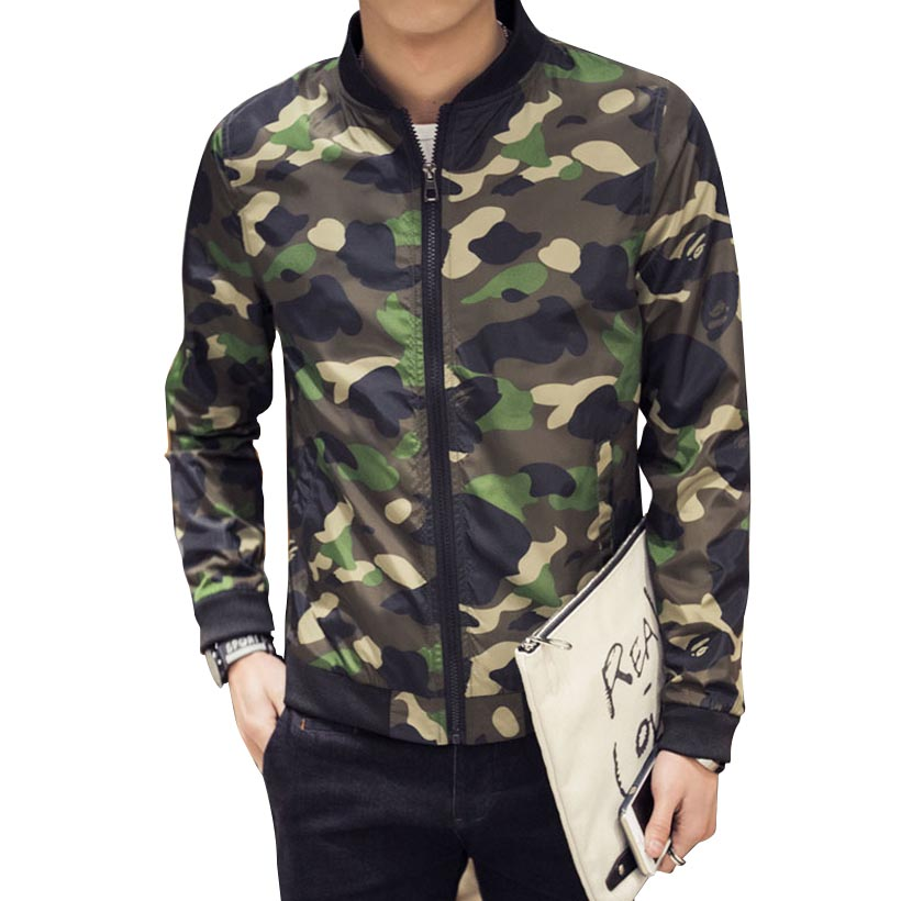 2016 Spring Autumn Fashion Brand Camouflage Jacket Men Long Sleeve Stand Callor Baseball Manteau Homme 4XL 5XL - FUCHUAN FASHION GARMENTS CO. LTD store