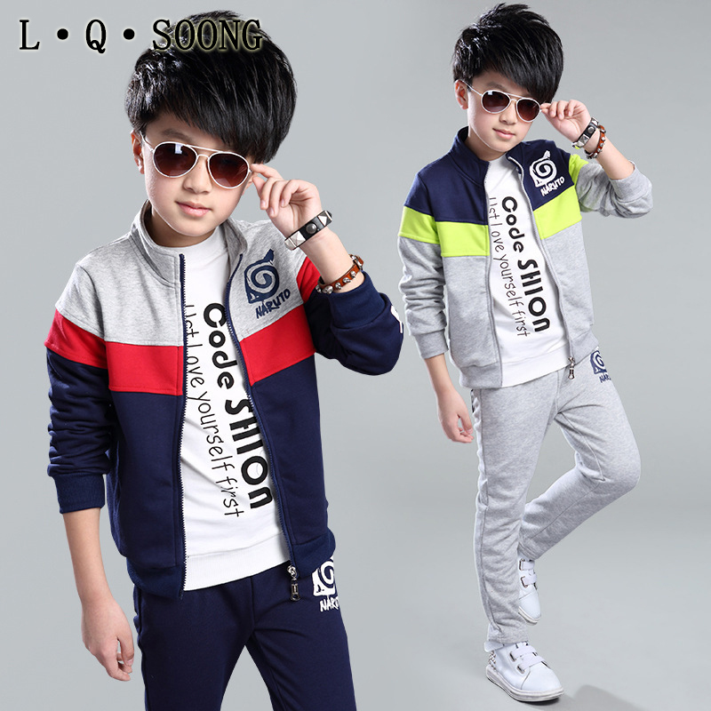 L Q SOONG Brands autumn style teenage boy sportswear for child clothing sets Long sleeve jacket + pants two piece free shipping(China (Mainland))