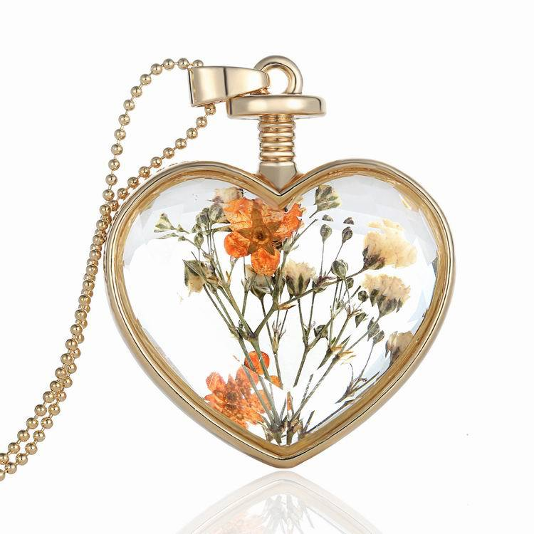 Women Alloy Popcorn Chain Necklace Crystal Flower Amber Long Pendant Necklace Popular(China (Mainland))