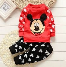 2015 new fashion clothing and girl s clothes children s micky cartoon long sleeved jacket pants