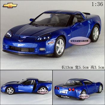 1:36 chevrolet corvette z06 blue alloy car models free air mail