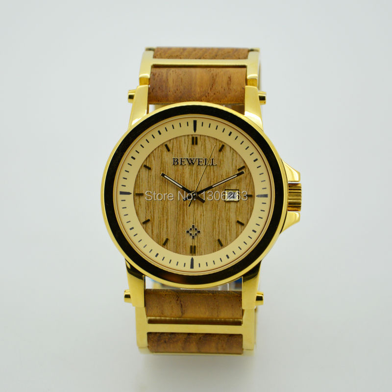 Golden Color Bamboo Watch Men Wristwatch with Steel Bracelet Bangle Quartz Gold Bamboo Watch In China<br><br>Aliexpress