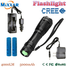 zk20 e17 CREE XM-L T6 LED 4000LM Aluminum Torches Zoomable LED Flashlight Torch Lamp contain two batteries two chargers(China (Mainland))