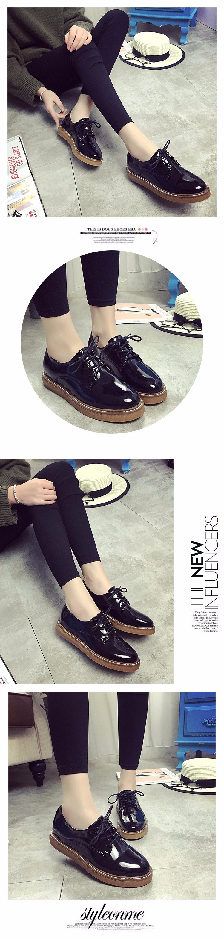 2016 New Spring Fall Hollow Style Fashion Flat Women Loafers Shoes Platform Lace Up Female Casual Shoes Black White Z4.5