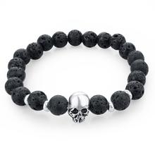 2015 New fashion natural stones skull bracelet For women Lava stone beads and tiger eye stone beads men bracelet