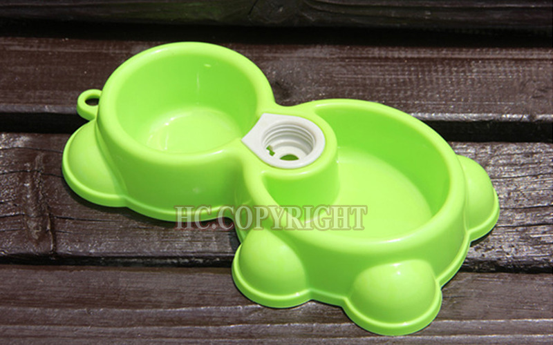 Fresh Grass Green Color Cute Teddy Bear Shape New Pet Dog Puppy Cat Automatic Water Dispenser Drink Food Dish Feeding Bowl(China (Mainland))