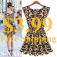 New Hot Sale Sexy Casual Women Dress Leopard Print Sleeveless Ruffles Vestidos Femininos Dresses Girl Sundress Women Clothing