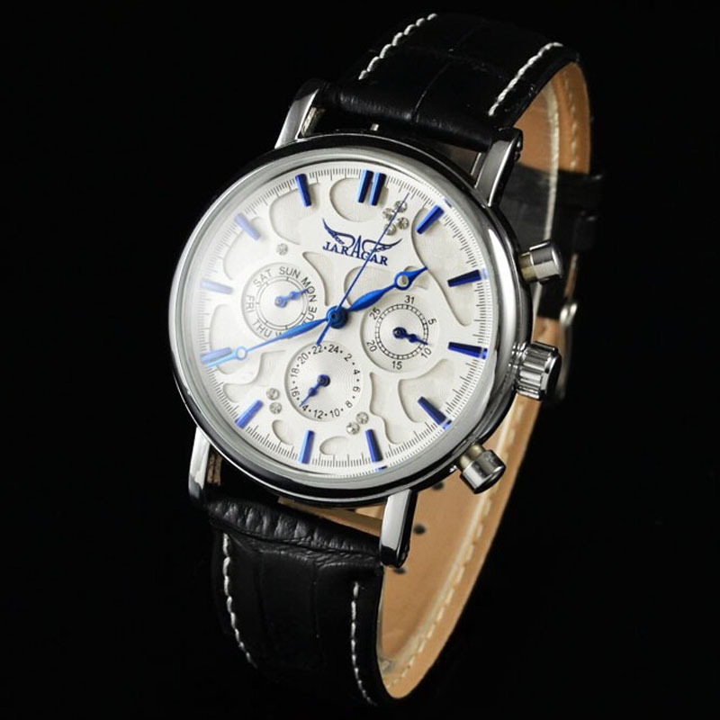 Гаджет  Multifunction Mechanical Watch Men Fashion Clock 3 Dial 6 Hands Week Date 12/24 Hours Automatic Mechanical Leather Wrist Watches None Часы