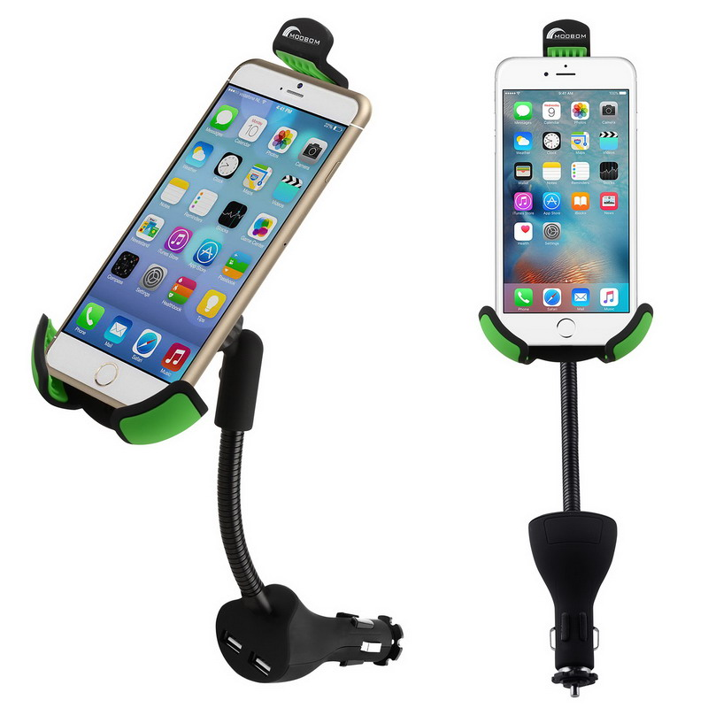 Black Car Cell Phone Holder Charger For iPhone Car Mount Dual USB 2.1A Over Mobile Phone Charger Current Protection VG001 T150.8(China (Mainland))