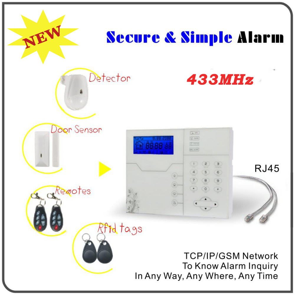 TCP IP GSM SMS APP Control Home Security Alarm System with RJ45 Ethernet Port, Luxury Touchscreen Design, High Quality(China (Mainland))