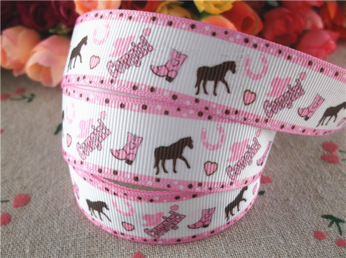 7/8'' (22mm) cartoon printed grosgrain ribbons cowgirl ribbon hair bows 50 yards WQ14092031 - Anne Store store