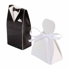 White + Black Bride and Groom Wedding Favour Boxes, Pack of 200 pairs of Style 1