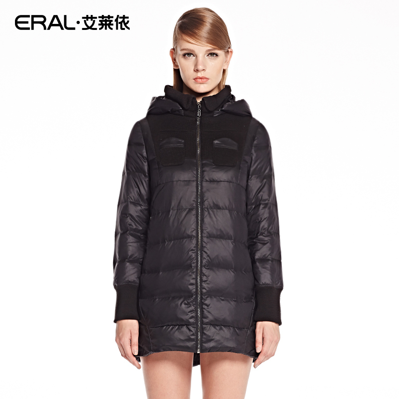 ERAL 2014 New Arrival Winter Coat Womens Hooded Slim Long Thick Knitted Patchwork Down Jacket with Chest Pockets ERAL6002CОдежда и ак�е��уары<br><br><br>Aliexpress
