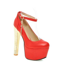 European 2016 Celebrity Ankle Strap Shoes Women Round Toe Thin High Heels Dress Wedding Shoes Ladies Bridal Sexy Plus Size Pump (China (Mainland))