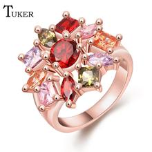 Buy Fashion Multicolor Rings Women popular flowers Cubic Zirconia Rose Gold Color Wedding Finger Ring Fine Jewelry for $2.05 in AliExpress store