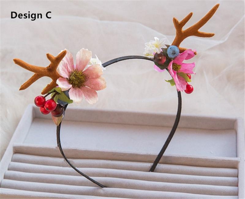 Horn Headband Flower Hair font b Accessories b font Festival Flowers Hairband Succulents Headbands Flores Bandeau