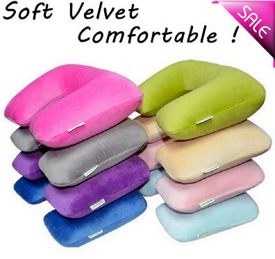 High Quality Velvet Air Inflation Pillow U Shape Portable Travell Airplane Neck Pillow Cervical Vertebra Pillow Ol Office Rest(China (Mainland))