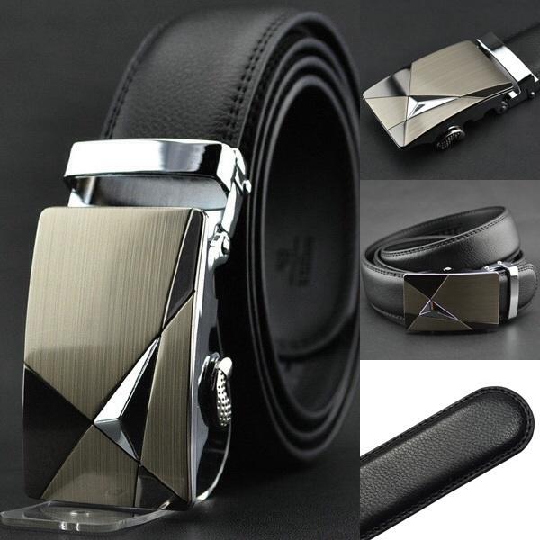 HOT Fashion belt MEN'S Genuine Leather Waist Strap Belts Automatic Buckle Black - MISS-LEILEI store