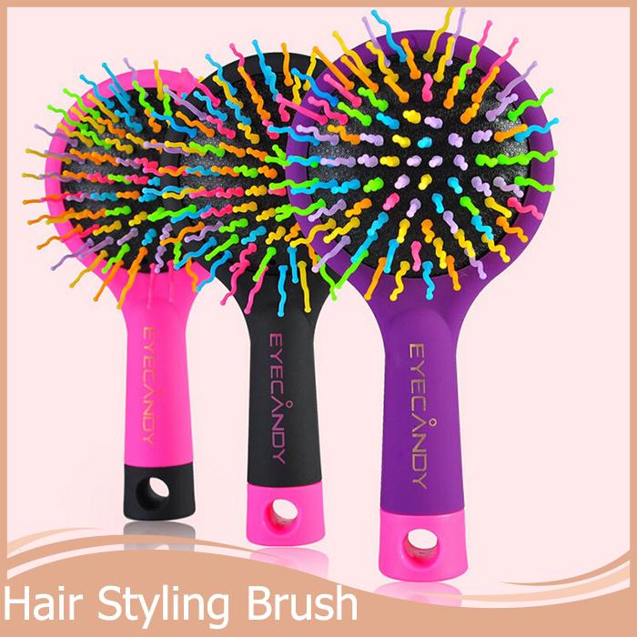 New 2015 Rainbow Comb Volume Brush Magic Hairbrush for Hair Tangle Hair Brush Women Comb Candy With Mirror 1PC(China (Mainland))