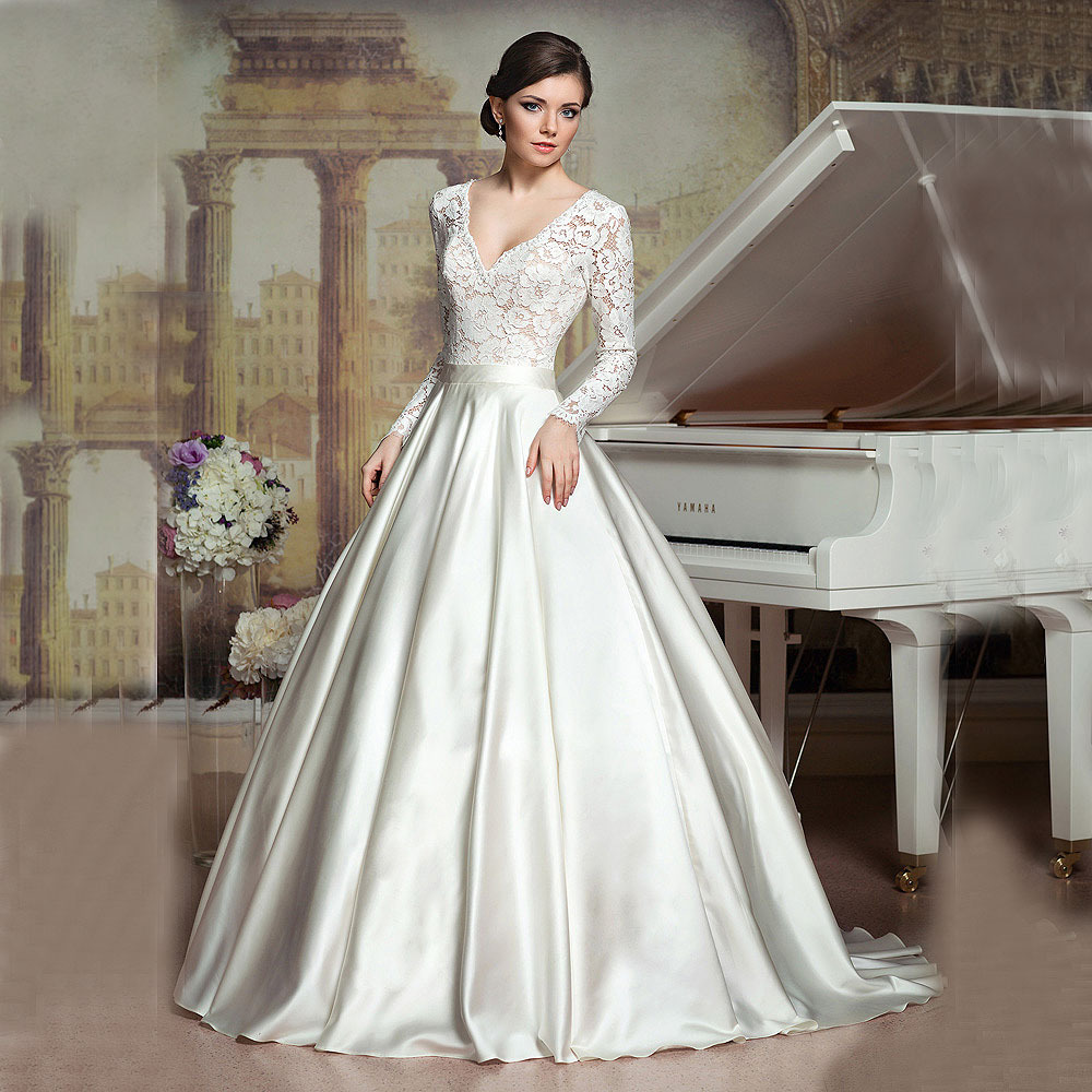 Buy 2016 ball gown vintage princess v for Ivory silk wedding dresses