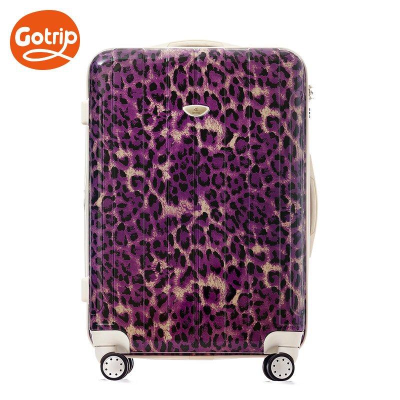 Women Fashion Travel Suitcase Leopard Print / Crocodile Trolley Luggage Bag PC Universal Wheels 28 inch Rolling - SHENZHEN E-Commerce Technology Co., Ltd. store