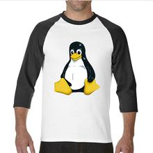 2017熱い販売面白い黒足ペンギンlinux面白いラグランスリーブtシャツ男(China