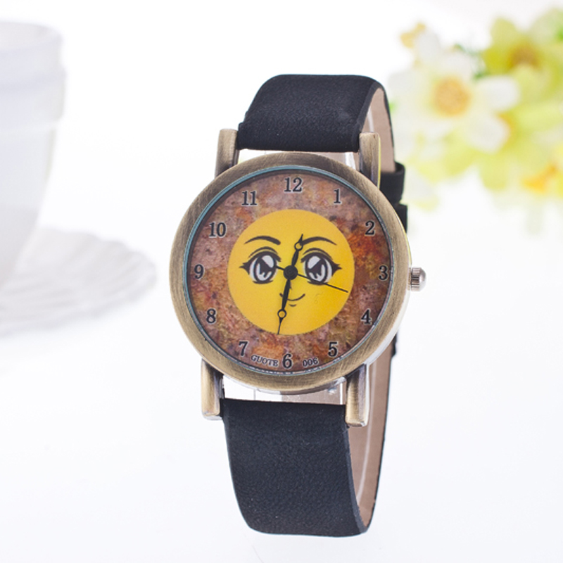 2016 Hot Sale Kids Quartz Watch Fashion Casual Girl Cartoon Smile Leather Women Watches Student Children Analog Wristwatch Hours
