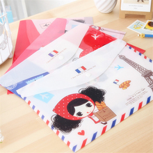 4 pcs/lot new lovely Curls girl A4 plastic Files Bag kawaii envelope documents bag for school office folders file organizer(China (Mainland))