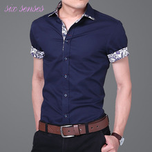 Plus size men shirts 4XL 2016 summer new fashion casual shirt short sleeve solid thin with floral cotton men slim shirts,LB1906