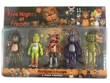 5 Pcs/ Pack 5.5 Inch Five Nights At Freddy's PVC Action Figure Toy Foxy Gold Freddy Chica Freddy With 2 Color LED Lights(China (Mainland))