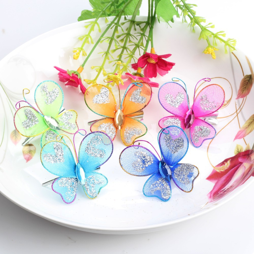 5 Pcs Summer Style Prom Dancing Headwear Butterfly Chiffon Baby Barrette Children&Kids Hair Clip Accessories Baby Party Hairpins(China (Mainland))