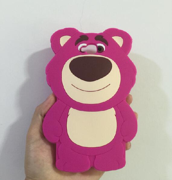 LG G Pro Lite D680 D686 3D Silicon Strawberry Bear Cartoon Soft Phone Back Skin Case Cover - ALEX ZHOU Store store