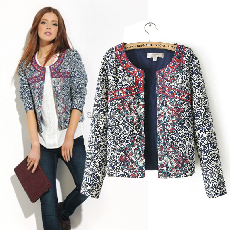 2014 new European and American style retro print blue and white round neck jacket women embroidery slim outwear(China (Mainland))