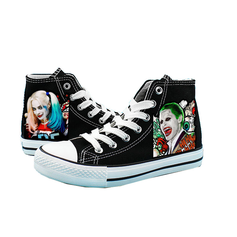 Cosworld Suicide Squad Canvas Shoes Women Casual High-Top Star Flat ShoesPrinting Shoes Harley Quinn Joker Leisure Shoes (5)
