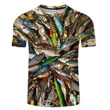 2019 nueva camiseta de pesca estilo casual Digital fish 3D Camiseta Hombre Mujer camiseta verano manga corta Camisetas cuello redondo y camisetas s-6xl(China)