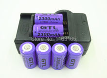 6x 2300mAh 16340 CR123A   Rechargeable Li-ion Battery Purple  For LED Flashlight  + Travel Charger(China (Mainland))