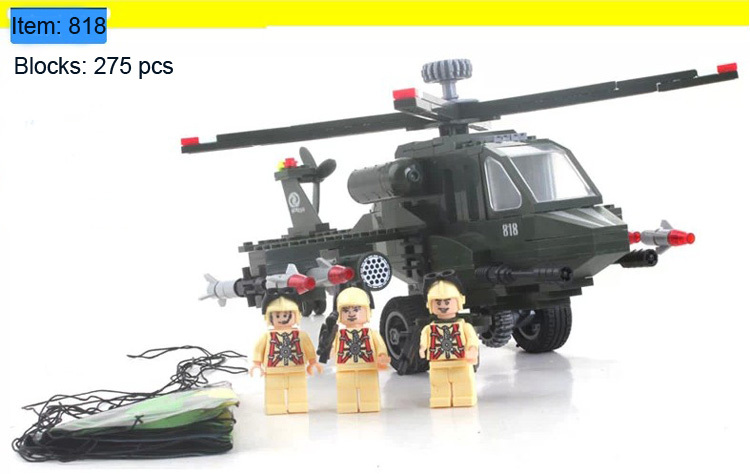 Enlighten Building Blocks Military Helicopter Combat Zones Construction Sets Bricks Hot Toys Children Model Kits - C&T store