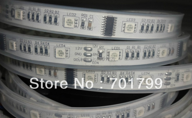 5m DC12V 32leds/m and 8pcs TM1812 ic/meter(32pixels) led digital strip;IP68;waterproof in silicon tube