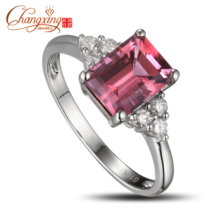 14k gold emerald cut 1 98ct pink tourmaline cut