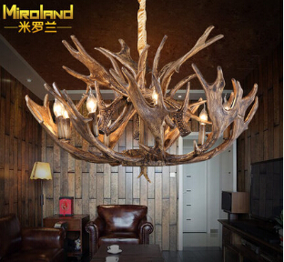 American style home decoration loft dining room Antler chandeliers vintage hemp ropeiron living room light free shipping(China (Mainland))