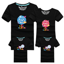 1psc Matching Mother Daughter Clothes Candy Print 2016 Summer New Casual Familie Passende Outfits Lovely T-shirts Family Clothes