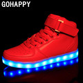 Microfiber Leather Plus Size Luminous LED Men Shoes For Adults Chaussure Lumineuse Basket Led Light up