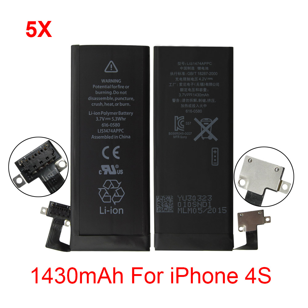 5pcs/lot 100% New 1430mAh 3.7V Mobile Phones Replacement Batteries Internal Built-in Li-ion Battery for iPhone 4S <br><br>Aliexpress