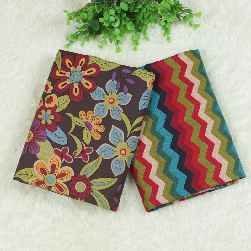 Оптовая продажа качество хлопчатобумажные швейные ткани, Цветок и волновая картина, Coton ткани, 2 шт./лот