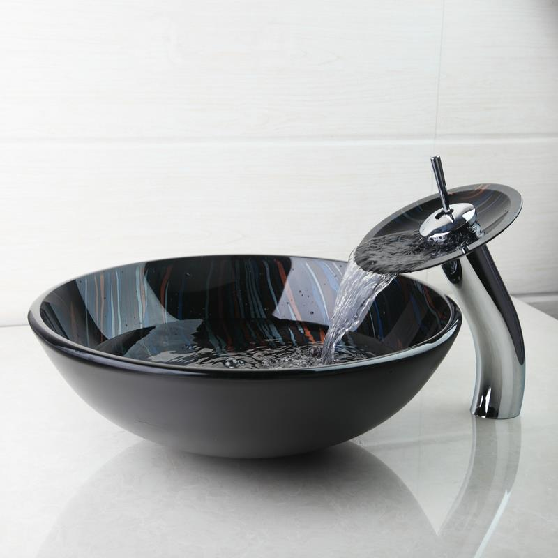 BEST Modern Tempered Glass Basin Bowl Sinks / Vessel Hand ...