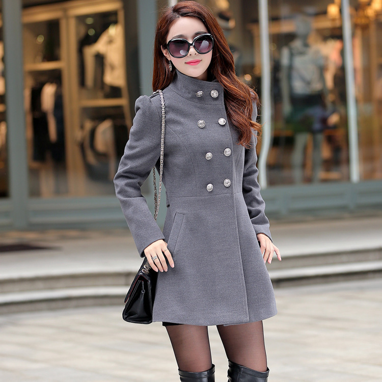 2015 new winter coat Korean Women long sections coat big yards Slim woolen jacket a generation of fat QY150802707